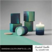 Quality Gradient Color Soy Wax Handmade Jar Candles Aurora Sky Green Bottle Non Toxic for sale
