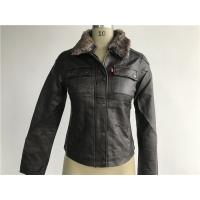 Levis dark brown ladies' pleather zip through jacket with detachable fake fur collar LEDO1743