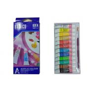 Quality Strong Adhesion Basics Colored Acrylic Paint Set‎ , Artists Paint Pigments 12 X 6ml Tubes for sale