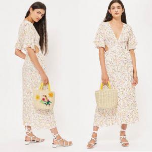 China Summer Boho Style V neck Sexy Dress Floral Dress Long Midi on sale