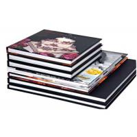China Brown Leather Perfect Bound Hardcover Book Printing , Hardcover Photo Book Print on sale