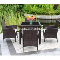 Quality Modern Outdoor Garden Patio Furniture Restaurant Rattan Leisure Cube Dining Table Set for sale