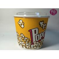Buy cheap 85oz Double PE Coated Neutral Design Popcorn Paper Bucket With Plastic Lid from Wholesalers