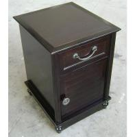 Quality HPL Top Dark Wood Nightstand With Drawers , Narrow Bedside Table Night Stand for sale