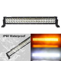 China Fast Delivery!120w Color Changing Flashing Amber Warming 24inch Led light bar Truck on sale