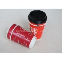 Buy cheap Red Double Wall To Go Custom Disposable Coffee Cups With Black Lid from Wholesalers