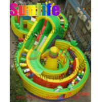 Quality Big 8 Shape Commercial Inflatable Slide For Kids With Fun And Repair Kits for sale
