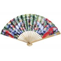 Quality Transfer Printed Pattern Parrot Paper Folding Fans for Souvenir and Promotion for sale