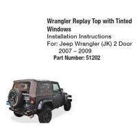 Quality JK Soft Top Auto Tinted Windows Black 51202 for 2007-2009 Jeep Wrangler for sale