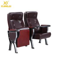 Quality Aluminum Alloy plywood cover leather Auditorium Chairs with ABS Tablet  360° Turning for sale