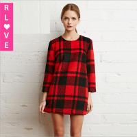 Quality Winter America hit the color retro red and black plaid zipper loose long-sleeved dress for sale