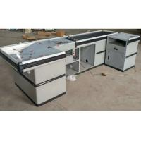 Buy cheap Custom Made Steel Cash Register Checkout Counter Conveyor Belt Cashier Desk from wholesalers