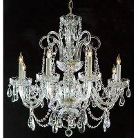 Silver Crystal Chandelier / with glass Arms