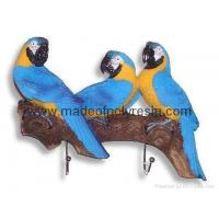 Quality Polyresin/polystone parrots wall hooks for sale