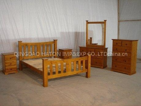 Quality Sell Pine Solid Bedroom Furniture Sets For Sale