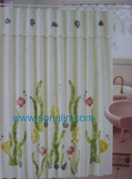 Table Cloth Printed Shower Curtain For Sale