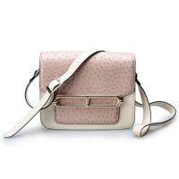China Good quality low price ostrich cow leather small cell phone single shoulder bag for girls on sale