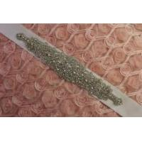 DIY Crystal Rhinestone Applique Bridal Sash Motif Silver Beaded & Glass