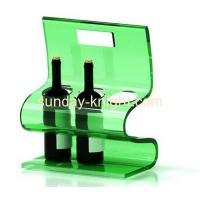 Buy cheap Green acrylic wine bottle stand with 3 holders and handle taking WDK-020 from Wholesalers