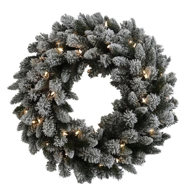 "Buy Flocked slight 30"" Wreath at wholesale prices"