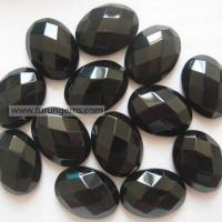 Quality Semi-precoius Stone / loose stone black agate faceted oval cab 15x20mm Itemfr1303034 for sale