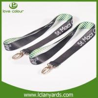 Quality Popular airlines buckle polyester material black plain lanyard for sale