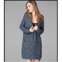 China V-neck pure color long sleeve sweater winter dress on sale