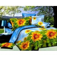 Quality 3D Soft Microfiber Yellow Sun Flower Prints Bedding Sheet Set Queen King (Y-12) for sale