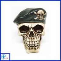 Quality Shenzhen Soldier Helmet War Skull Skeleton Fright Statue Horror Resin Figurine For Collection for sale