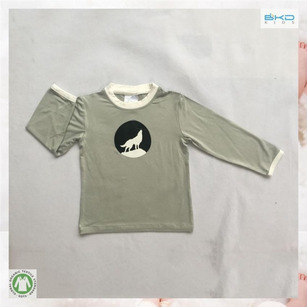 Wolf Printed Bamboo T Shirts For Little Child Of Bkdkids