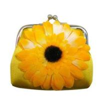 Quality Yellow Cheap Flower Satin Cash Purse for sale