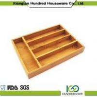 Quality Cheap price 5 Divider Kitchen Drawer Bamboo Cutlery Tray for sale