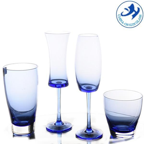 Mothblown Blue Colored Drinking Glass For Sale