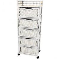 Quality Natural Fiber Chest on Wheels - Five Drawer for sale