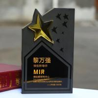 Quality New Design Top Quality Black Star Crystal Trophy for sale