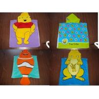 100% Cotton velour reactive printed hooded towel poncho
