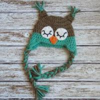Quality Sleepy owl crochet cotton hat for baby in light brown and aqua for sale