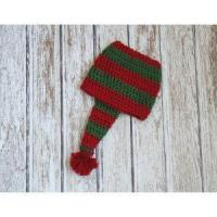 Quality Christmas stocking hat for baby, cotton hat in red and green, crochet hat for sale