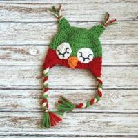 Quality Christmas sleepy owl hat for boys and girls, crochet christmas hat in red and green for sale