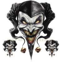 China DECAL GRAPHIC for MOTORCYCLE WINDSCREENS Air Brush Jester evil skull clown biker on sale