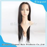China Best selling natutal black 22inch silky straight indian remy hair full swiss lace wig on sale