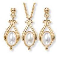 Quality Simulated Pearl Jewelry Necklace & Earrings Set for sale