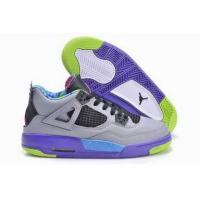 Quality 100% Authentic Air Jordan 4 Grey Purple Pink Green Womens for sale