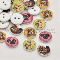 Quality Flat Round with Squirrel Dyed 2-Hole Printed Wooden Buttons,...(X-BUTT-P009-25B) for sale