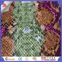 Quality Camouflage snake skin design faux leather fabric for shoes in China product for sale
