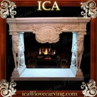 Buy cheap Hand carved marble animal statue fireplace with dog from wholesalers