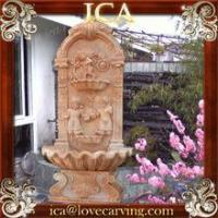 Buy cheap garden big red marble stone wall fountain with children from wholesalers
