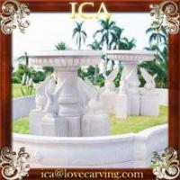 Buy cheap Garden water natural stone large marble swan fountain with big pool from wholesalers