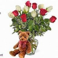 Quality Bear w/ 1-Dz Red & White Roses NO.29 sent flower to shanghai for sale