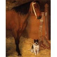 Quality Oil Painting At_the_Stables,_Horse_and_Dog for sale